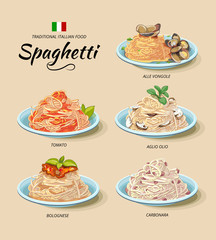 Spaghetti or pasta dishes vector set in cartoon style