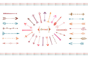 Hand drawn big arrows collection. Colorful ethnic elements set. Isolated vector.