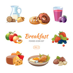 Cartoon breakfast food vector icons set