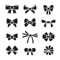 Wall Mural - Decorative gift bows black vector icons set