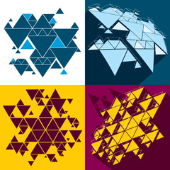 Wall Mural - Hipster triangle abstract backgrounds vector set