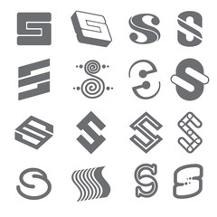 Wall Mural - Geometric shapes for S letter logo and monogram. Abstract vector elements