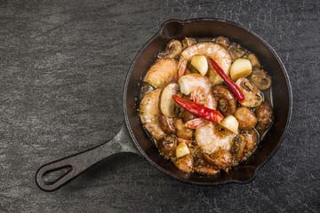 えびのアヒージョ (ajillo)Shrimp with garlic and olive oil
