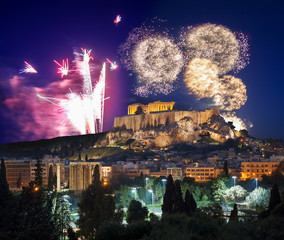 Acropolis with firework, celebration of the New year in Athens, Greece