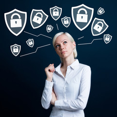 Businesswoman thinking about personal data protection locked shield security
