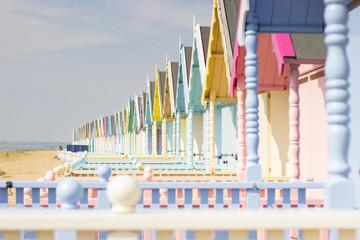 Beach huts in Mersea Island, Essex.