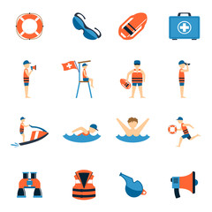 Lifeguard Icons Set