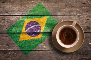 Brazil flag with coffee