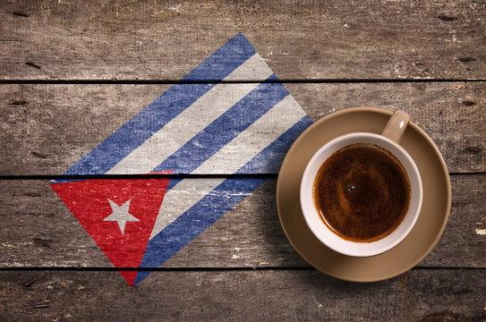 Cuba flag with coffee