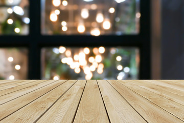 Perspective wood and bokeh light background