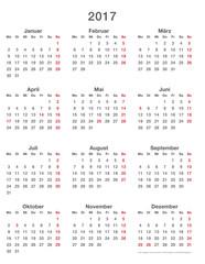 Jahresplaner 2017, einfache Vorlage Hochformat auch für die Visitenkarte (85x55 mm) geeignet!