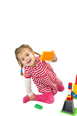 Smiling girl with toys