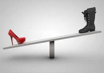 high heel and boot balance concept