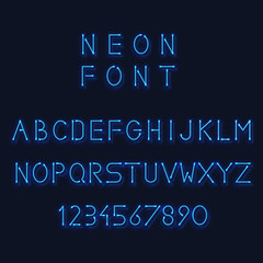 Neon light alphabet. Vector letters and number. Minimalistic linear sans-serif font