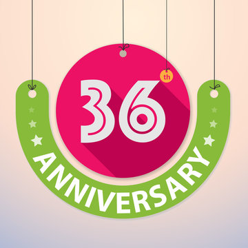 36th Anniversary - Colorful Badge, Paper cut-out