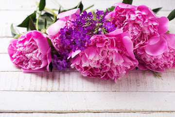 Fresh pink peonies flowers