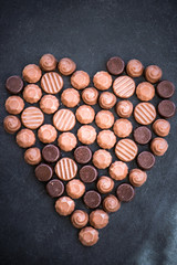 Heart Shape Made with Various Types of Chocolate Truffles