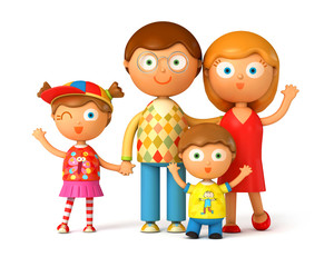 Happy family, posing together. Isolated on white background. 3d render