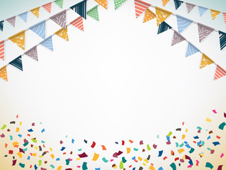 Celebrate banner. Party flags with confetti. Vector.