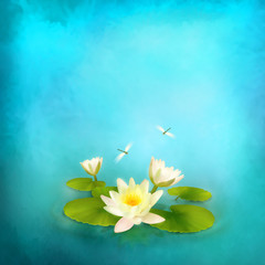 Water lily dragonfly painting background