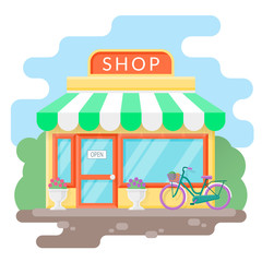 Small cozy shop. Flat vector illustration