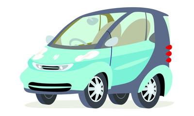 Caricatura Smart azul vista frontal y lateral