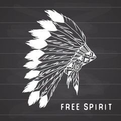 Tribal legend in Indian style, Native american traditional headgeer with bird feathers and beads. Vector illustration, letters Free and Wild spirit and soul. on chalkboard