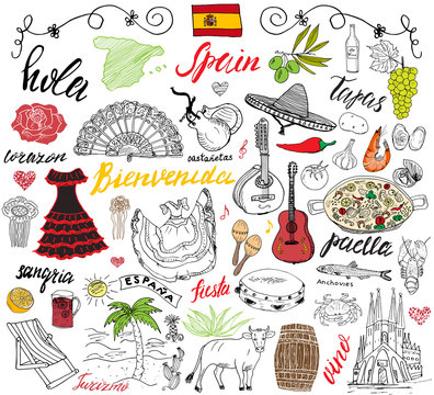 Spain doodles elements. Hand drawn set with spanish food paella, shrimps, olives, grape, fan, wine barel, guitars, music instruments, dresses, bull, rose, flag and map, lettering. doodle set isolated