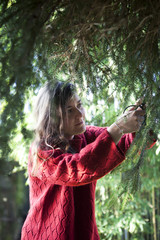 A woman is cutting pine branches from a tree in the garden