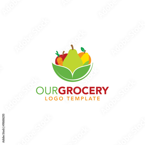 """Healthy Food Grocery Logo Template"" Stock image and ... Grocery Store Logos Free"
