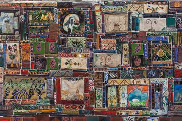 Multicolor mosaic handmade vintage ceramics
