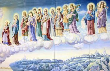 Kiev, Ukraine. Saint maidens. Historical picture, St. Michael monastery