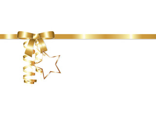 Elegant golden gift ribbon bow with streamers and golden star badge