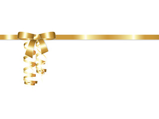 Elegant golden gift ribbon bow with streamers