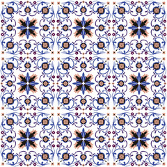 Seamless background image of vintage spiral cross flower kaleidoscope pattern.