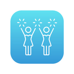 Cheerleaders line icon.