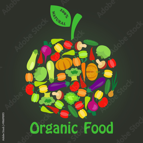 quotorganic food logo of vegetables arranged in the shape