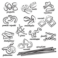 monochrome set of various pasta elements