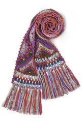 Colorful scarf handmade isolated on white background