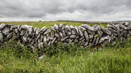 Dry stone walls, built from field stone, The Burren, Ireland