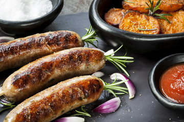 Sausages with Rosemary and Sweet Potato Fries