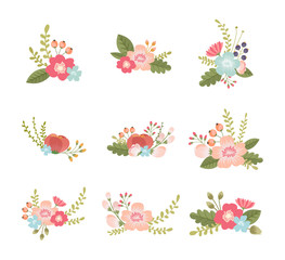 set of lovely flower design elements