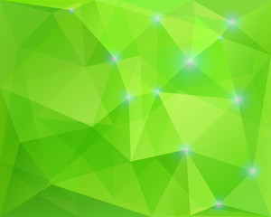 Abstract polygonal geometric background, green colored, with spa