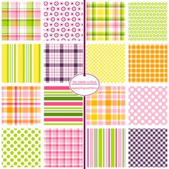 Repeating patterns for digital paper, scrapbooking, cards, invitations, gift wrap and paper backgrounds. File includes: 16 different plaid, polka dot and stripe patterns.