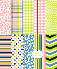 Repeating patterns for digital paper, scrapbooking, cards, invitations, gift wrap and paper backgrounds. File includes: flower prints, gingham/plaid, polka dots, stripes, diamonds, chevron and swirls.