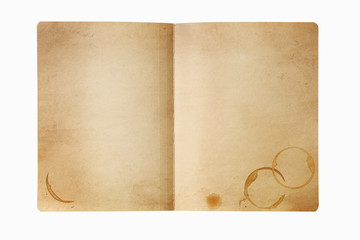 Grunge manila folder with coffee stains, isolated on white.