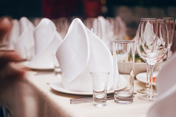 Tableware, white silk napkins and wine glasses