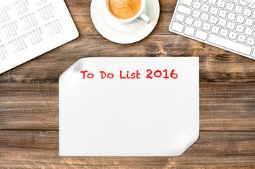 Digital tablet with calendar. To Do List 2016. Office desk