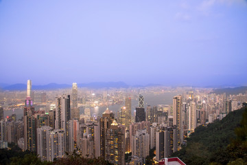 View from Victoria Peak to the business borough and the gulf in