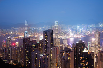Defocus ,View from Victoria Peak to the business borough and the